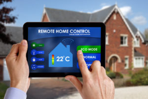 tablet controlling home's thermostat